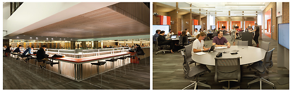 """(l.-r.): Lighting enhances multilevel study areas; and active learning classrooms feature circular learning """"pods"""" and group-ready booths. Photos By Lara Swimmer"""