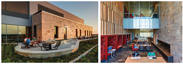 STUDENT-CENTERED SPACE Research-driven design led to users being able to control their experience. (top): the northeast entrance. (l.-r.): the rooftop terrace; nontraditional study spaces in the reading room. Photos by James Haefner Photography/Stantec Architecture