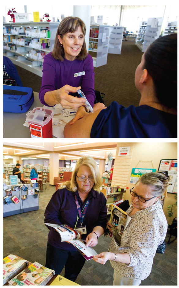 GET WELL HERE Library health services span a wide range of sizes and approaches. Top: Pima Cty. Health Department library nurse Barbara Oppenheimer gives a patron a shot at the Wheeler Taft Abbett Sr. Branch. Bottom: at Pima's Valencia Branch, nurse Mary Frances Bruckmeier (l.) discusses health care. Photos courtesy of the Pima County PL