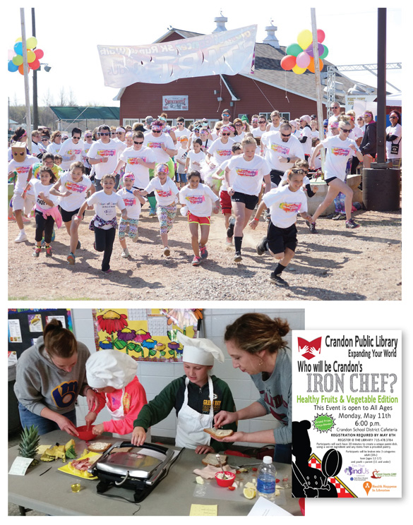 TEAM EFFORT Partnering between patrons and staff improves health outcomes. The Crandon Public Library's (CPL) Ties That Bind Us Colors of Cancer 5K run (top); CPL's Iron Chef Healthy Fruits & Vegetable Edition competition (bottom). You're never too young to learn to cook well. Photos courtesy of Crandon PL