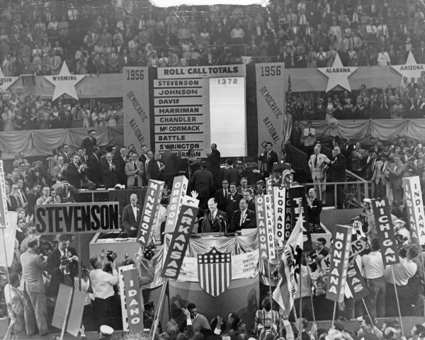 """Adlai Stevenson II with Richard J. Daley on the podium at the Democratic National Convention in Chicago."" Richard J. Daley collection University of Illinois at Chicago"