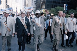 """Mayor Harold Washington marches in a Union Parade"" James S. Parker Collection University of Illinois at Chicago"