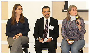 """The Director's Evolving Role"" panelists (l-r): Meridian Library District, ID, director Gretchen Caserotti; San Antonio Public Library director Ramiro Salazar; and FLP's Siobhan Reardon"
