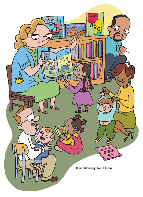 Illustration of storytime at a Library, by Tom Bloom.