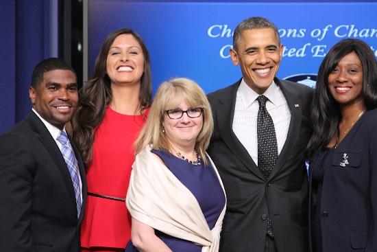 """Champion of Change"" Carolyn Foote (center) and President Barack Obama flanked by co-honorees (l. to r.) S. Dallas Dance, Misa Gonzales, and Daphne Bradford."