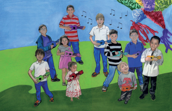 Illustration from René Saldaña's Dale, Dale, Dale/Hit It, Hit It, Hit It: Una fiesta de números/A Fiesta of Numbers.