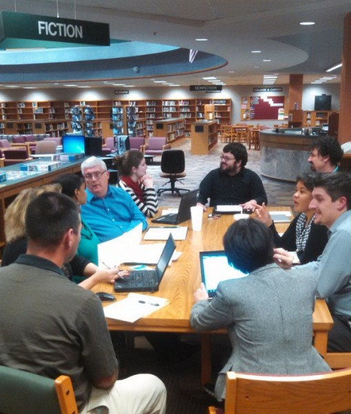 School librarian Chad Heck (in dark shirt, wearing glasses) in a training session with teachers at Pike High School in the library.
