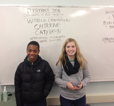 Minecraft Hunger Games participants, Messiah (left), and its new world champion Catherine (right), at the Providence (RI) Community Library on November 15, 2014. Photo courtesy of PCL