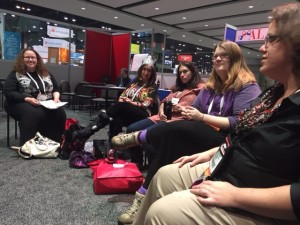 "Teen librarians meet at the ""YA Smackdown"" session at the ALA Midwinter on February 1, 2015."