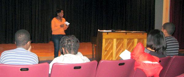 Twyla Sommersell leads a Dewey Decibels workshop.