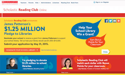 James Patterson asks: What would your school library do with $1,000–$10,000?