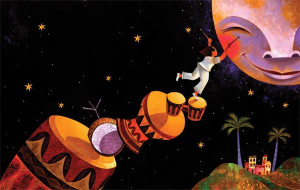 A scene from Newbery Honor winner Margarita Engle's Drum Dream Girl. Illustration by Pura Belpré Award winner Rafael López.