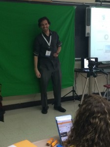 "NYC Teacher Jordan Kamer with his ""Do-It-Yourself Green Screen"""
