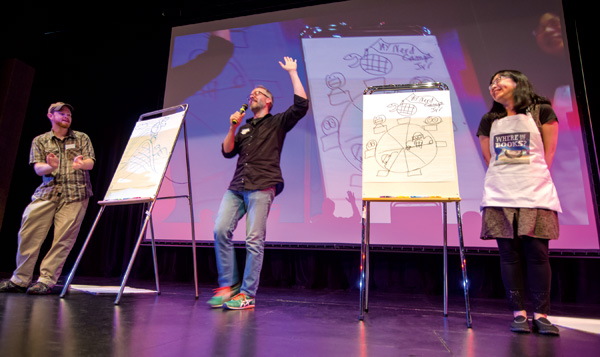 Illustrators Aaron Zenz, Jerzy Drozd, and Debbie Ohi take part in the Nerdcamp Jr. Draw-Off.
