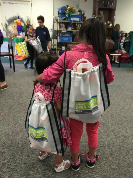 "Backpacks handed out at the ""Shared Stories Open Minds"" program Mt. Kisco Elementary School."