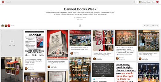 SLJ's Banned Books Week Pinterest board curated by guest pinner Molly Wetta