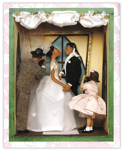 A scene from Gary Soto's Snapshots from the Wedding (Putnam, 1997), illustrated by Stephanie Garcia. The work won the 1998 Pura Belpré Award for Illustration.