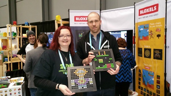The author, left, showing off her Bloxels creation.