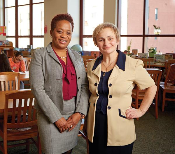 Umanskaya (right) with PS/IS 30 principal Carol Heeraman.