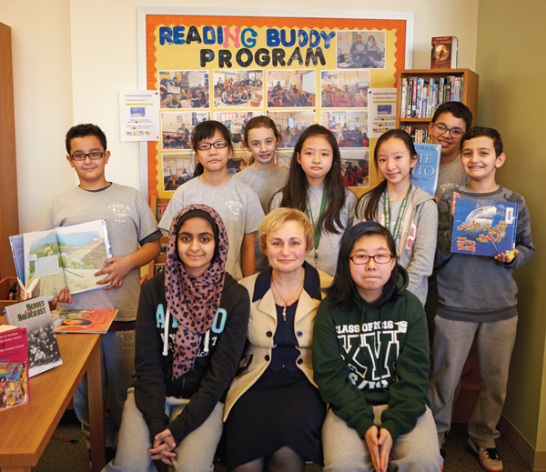 Alla Umanskaya (center front) with middle school reading buddies at PS/IS 30 in Brooklyn, NY.