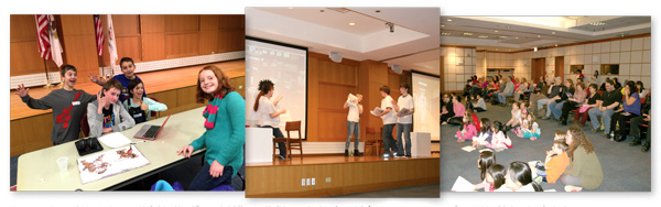 Tween writers at the Arlington Heights (IL) Memorial Library (left) create fractured fairy tales that are performed by high school students (center, right). Photos courtesy of Arlington Heights Memorial Library