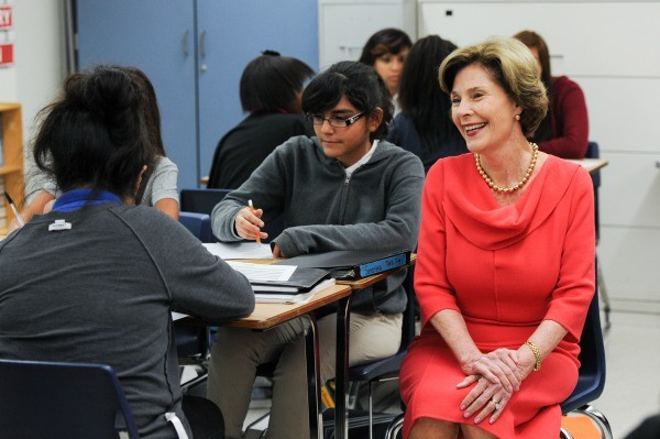 Mrs. Bush visits Wilkinson Middle School in Mesquite ,TX for Middle School Matters with the George W. Bush Presidential Center. Photo by Grant Miller
