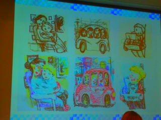 Chris Raschaka's color renderings were on display.