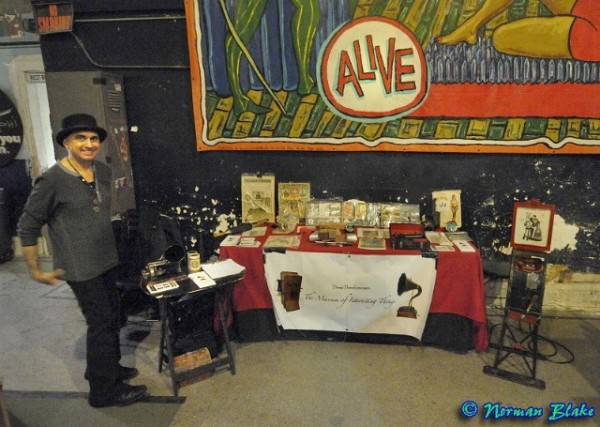 Denny Daniel and his traveling Museum of Interesting Things exhibit. Photo by Norman Blake