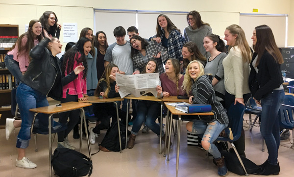 Janis Schachter's News Literacy class at Northport (NY) High School. Photo by Janis Schachter