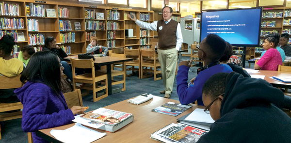 Frank W. Baker leads a media literacy workshop. Photo courtesy of Frank W. Baker