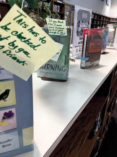 Sabrina Carnesi's sticky notes identify books for buddies to read together Courtesy of Sabrina Carnesi