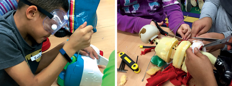 At Michigan Makers Toy Takeapart events, students learn to handle tools and dismantle toys to see how circuits and electronics power them. Kids dissected an animatronic Santa over the course of several sessions.