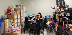 All 35 stuffies were found hiding in the library storage room!