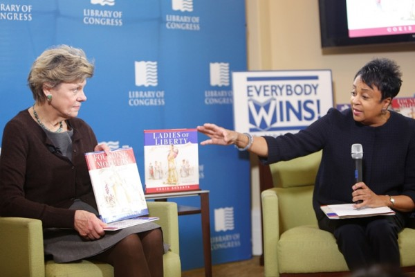 Librarian of Congress Carla Hayden introduces Cokie Roberts for a presentation at the Young Readers Center in honor of Women's History Month, March 6, 2017. Photo by Shawn Miller.