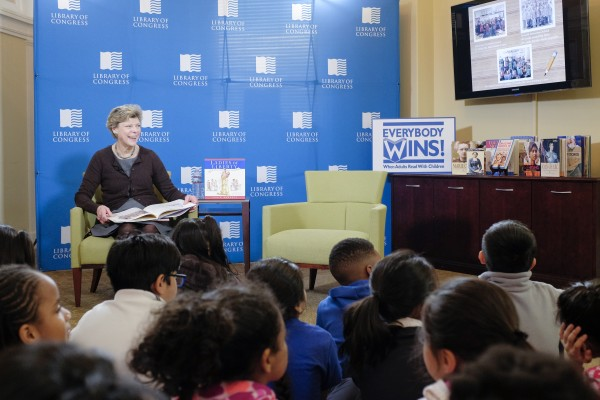 "Cokie Roberts gives a presentation on her book, ""Ladies of Liberty,"" to students at the Young Readers Center in honor of Women's History Month, March 6, 2017. Photo by Shawn Miller."