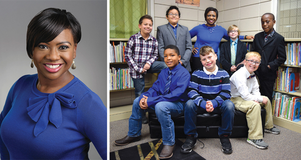 Arkansas school librarian Jamille Rogers (back row, center) with members of the Distinguished Gentleman's Club. Photos courtesy of Marguerite Vann Elementary School