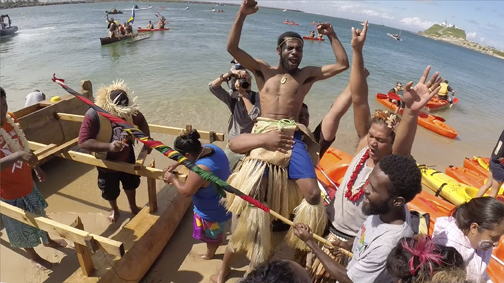 Pacific Climate Warriors celebrate their successful protest in How To Let Go of the World (Bullfrog Films)