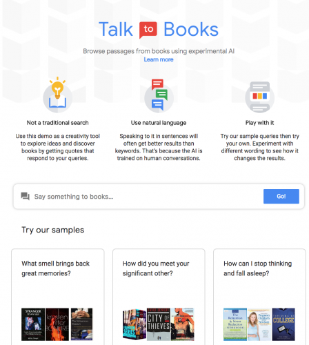 Google's new Talk to Books: Semantic search for book and idea discovery