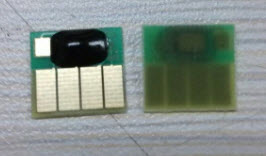 Front and back of a HP 564 ARC Chip Made In China
