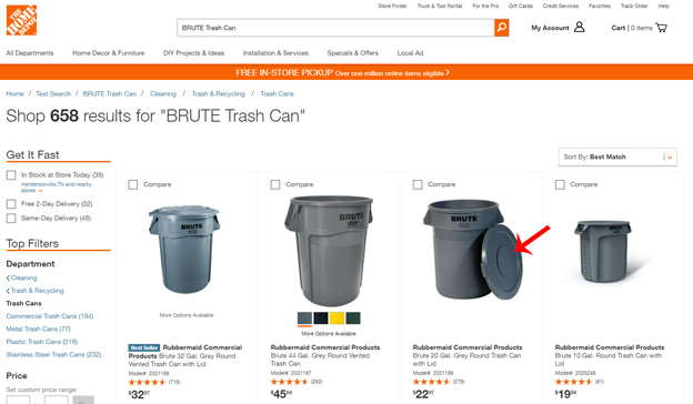 Brute Trash Cans at Home Depot