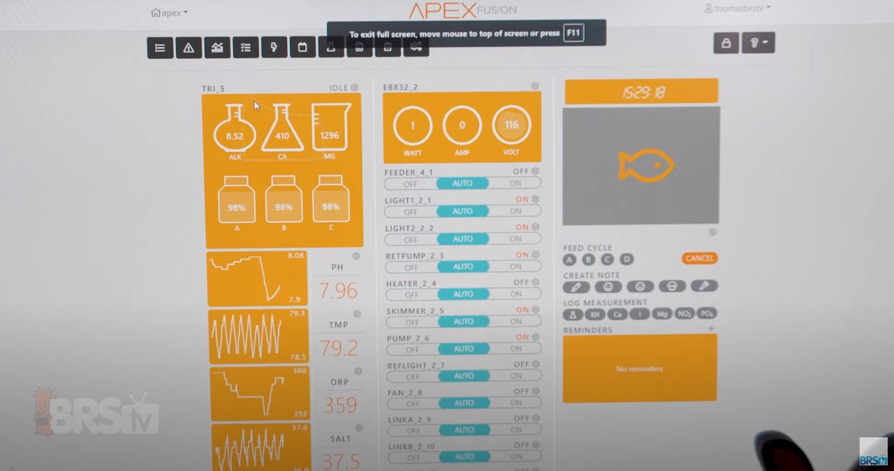 Neptune Systems Apex Fusion Dashboard -Trident Panel