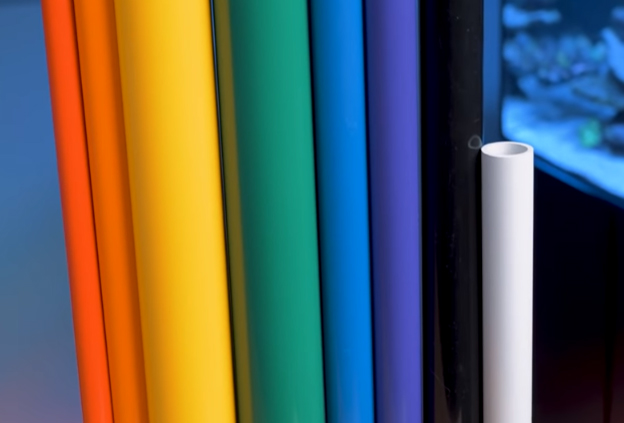 Rainbow of colored PVC colors