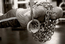 Ring push ups with chains to increase your bench press