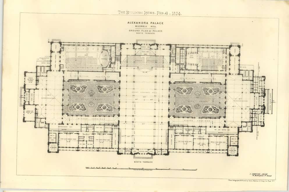 1874 Ground Plan Of Alexandra Palace Muswell Hill