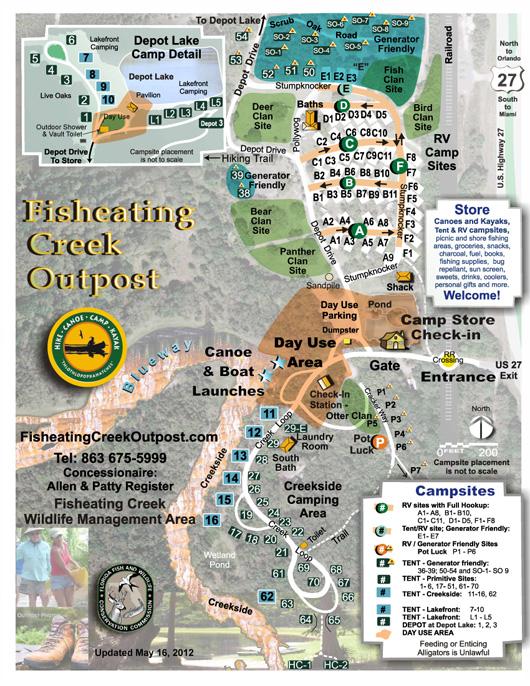 Florida Camping Map.Fisheating Creek Outpost