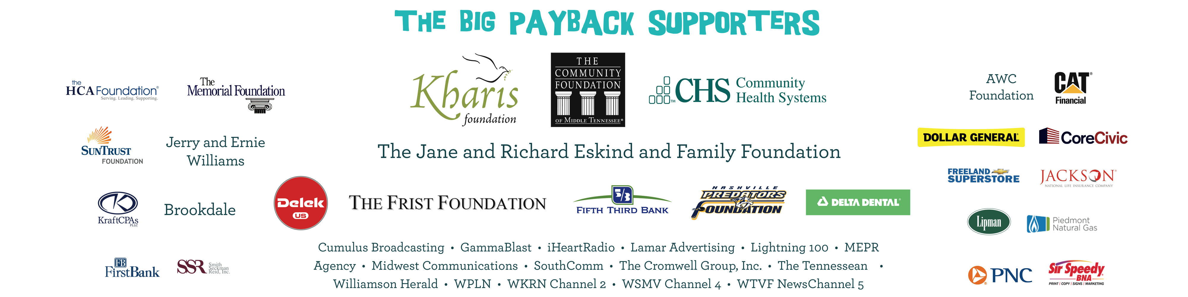 we love our sponsors for The Big Payback