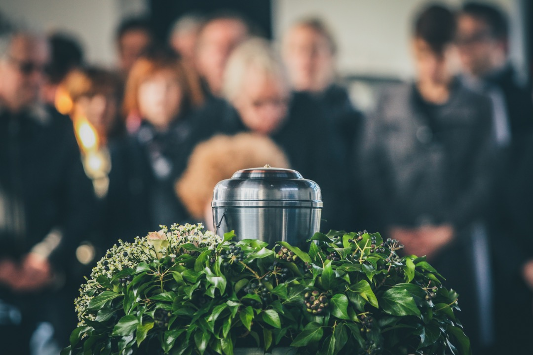 Urn containing ashes from a cremation in Park Ridge, Illinois