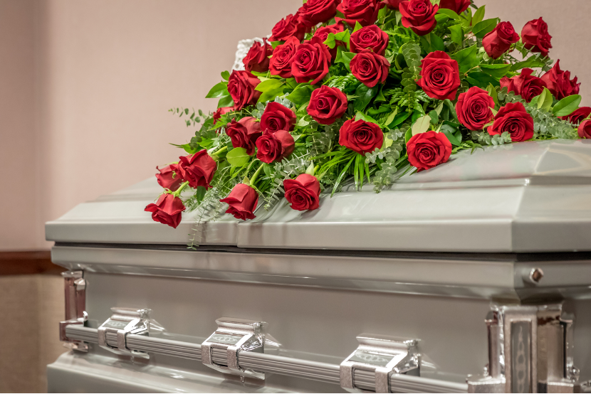 Traditional funeral service at a funeral home in Morton Grove, Illinois
