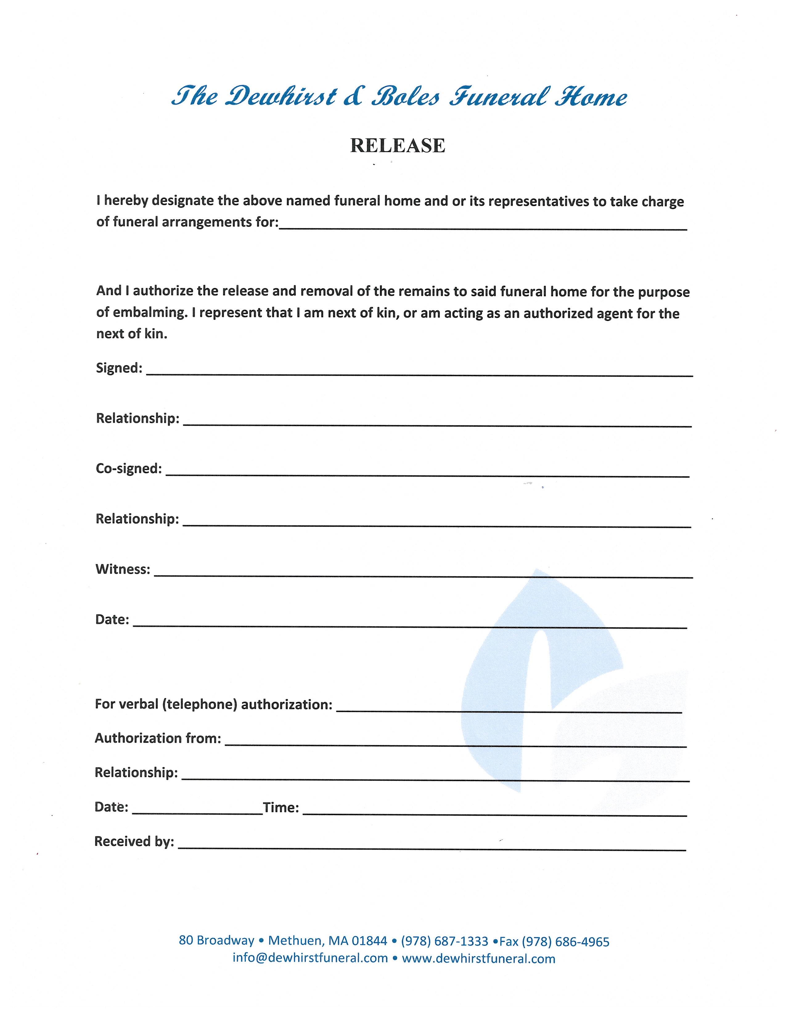 Arrangement Forms | Dewhirst & Boles Funeral Home | Methuen