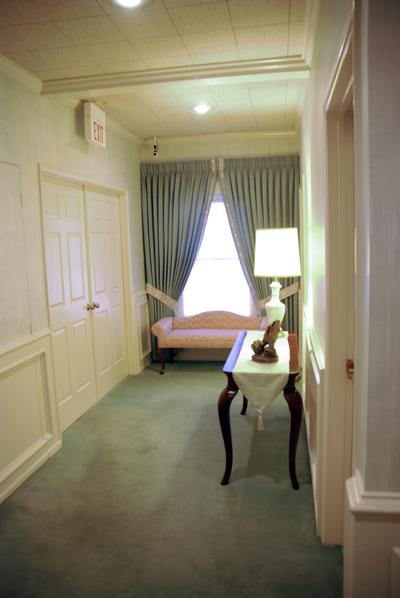 A well lit and spacious hall, to visitation rooms and service areas